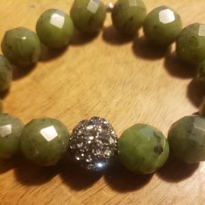 Faceted Agate Bracelet with Crystal Pave Ball